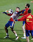 Spain's Thiago Alcantara (l) and Juanfran Torres during training session. March 21,2016. (ALTERPHOTOS/Acero)