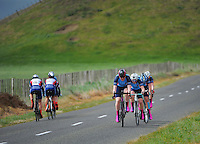Palmerston North Girls' High School B under-16 girls in action during the NZ Schools Road Cycling championship day one time trials at Koputaroa Road, Levin, New Zealand on Saturday, 27 September 2014. Photo: Dave Lintott / lintottphoto.co.nz