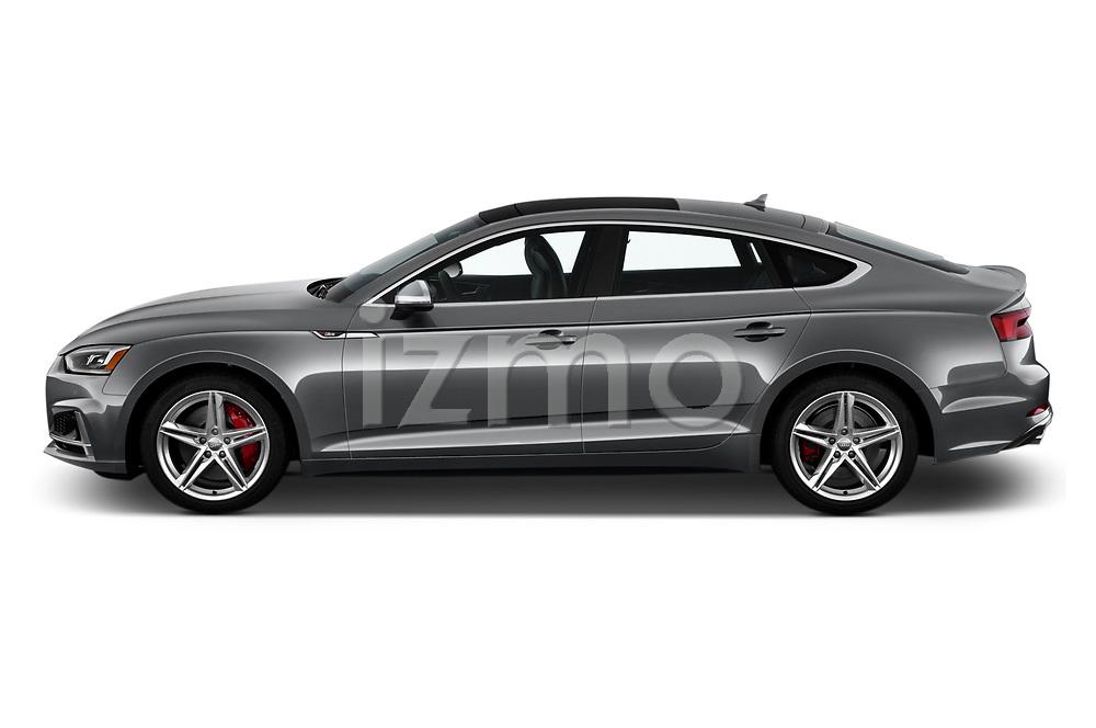 Car driver side profile view of a 2018 Audi S5 Sportback 3.0T Premium Plus quattro Tiptronic 5 Door Hatchback