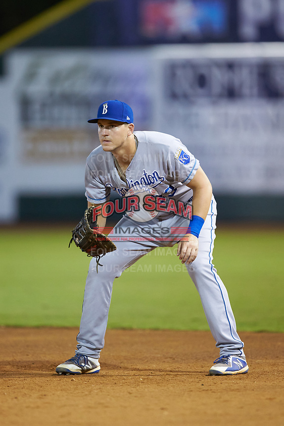 Burlington Royals first baseman Vinnie Pasquantino (33) on defense against the Pulaski Yankees at Calfee Park on September 1, 2019 in Pulaski, Virginia. The Royals defeated the Yankees 5-4 in 17 innings. (Brian Westerholt/Four Seam Images)