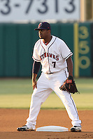 Delino DeShields,jr. #7 of the Lancaster JetHawks during a game against the Rancho Cucamonga Quakes at Clear Channel Stadium on August 22, 2012 in Lancaster, California. Rancho Cucamonga defeated Lancaster 8-7. (Larry Goren/Four Seam Images)