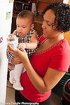 6 month old baby girl held by mother looking at objects on refrigerator language development talked to, shown yogurt container