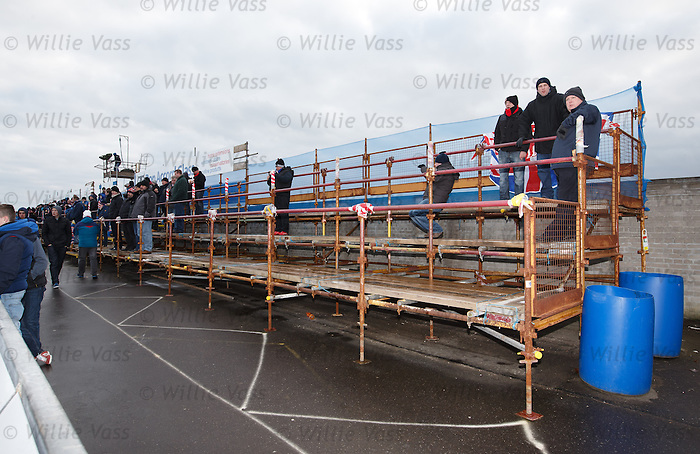 The terracing behind the goals for the Rangers fans