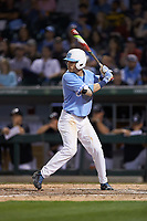 Brandon Riley (1) of the North Carolina Tar Heels at bat against the South Carolina Gamecocks at BB&T BallPark on April 3, 2018 in Charlotte, North Carolina. The Tar Heels defeated the Gamecocks 11-3. (Brian Westerholt/Four Seam Images)