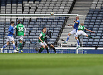 St Johnstone v Hibs…22.05.21  Scottish Cup Final Hampden Park<br />Shaun Rooney gets above Josh Doig to score for saints<br />Picture by Graeme Hart.<br />Copyright Perthshire Picture Agency<br />Tel: 01738 623350  Mobile: 07990 594431