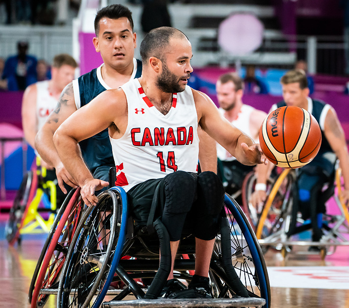 Tyler Miller, Lima 2019 - Wheelchair Basketball // Basketball en fauteuil roulant.<br /> Men's wheelchair basketball takes on Colombia in the semifinal game // Le basketball en fauteuil roulant masculin affronte la Colombie en demi-finale. 30/08/2019.