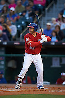 Buffalo Bisons catcher George Kottaras (17) at bat during a game against the Pawtucket Red Sox  on August 28, 2015 at Coca-Cola Field in Buffalo, New York.  Pawtucket defeated Buffalo 7-6.  (Mike Janes/Four Seam Images)