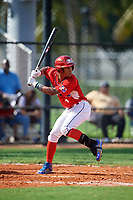 Gabriel Arias (1) during the Dominican Prospect League Elite Florida Event at Pompano Beach Baseball Park on October 14, 2019 in Pompano beach, Florida.  (Mike Janes/Four Seam Images)