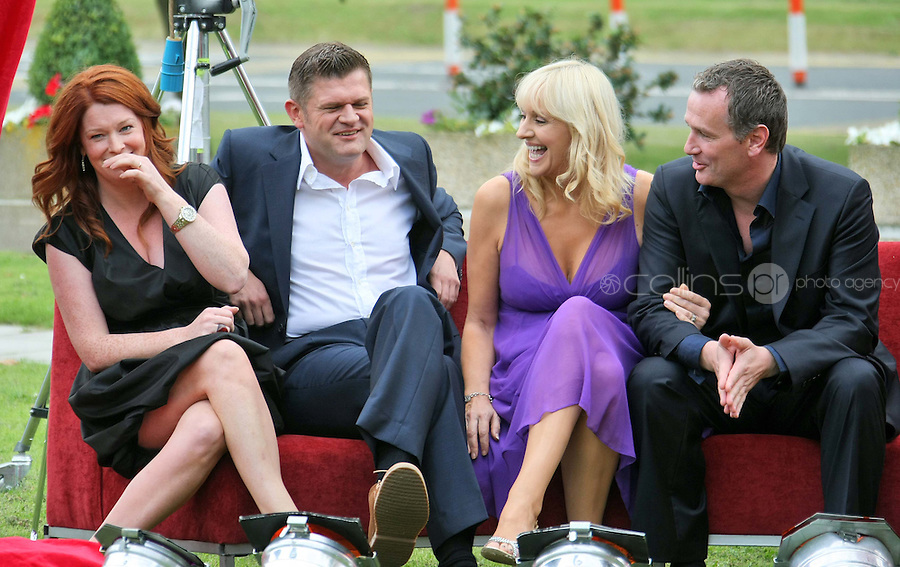 05/08/'10 Blathnaid Ni Chofaigh, Brendan O'Connor, Miriam O'Callaghan and Daithi O Se pictured  at the launch of RTE's new season winter schedule at Montrose this afternoon...Picture Colin Keegan, Collins, Dublin.