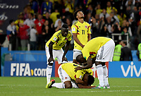 MOSCU - RUSIA, 03-07-2018: Cristian ZAPATA, Davinson SANCHEZ y Yerry MINA jugadores de Colombia lucen decepcionados después del partido de octavos de final entre Colombia y Inglaterra por la Copa Mundial de la FIFA Rusia 2018 jugado en el estadio del Spartak en Moscú, Rusia. / Cristian ZAPATA, Davinson SANCHEZ and Yerry MINA players of Colombia look disappointed after the match between Colombia and England of the round of 16 for the FIFA World Cup Russia 2018 played at Spartak stadium in Moscow, Russia. Photo: VizzorImage / Julian Medina / Cont