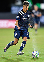 LAKE BUENA VISTA, FL - JULY 26: Jesús Medina of New York City FC dribbles the bal during a game between New York City FC and Toronto FC at ESPN Wide World of Sports on July 26, 2020 in Lake Buena Vista, Florida.