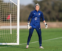 ORLANDO, FL - JANUARY 21: Jane Campbell #24 of the USWNT looks to the ball during a training session at the practice fields on January 21, 2021 in Orlando, Florida.