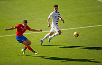 CARSON, CA - FEBRUARY 1: Bernald Alfaro #15 of Costa Rica sends ball downfield during a game between Costa Rica and USMNT at Dignity Health Sports Park on February 1, 2020 in Carson, California.