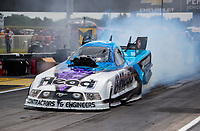 Jul 18, 2020; Clermont, Indiana, USA; NHRA funny car driver Blake Alexander during qualifying for the Summernationals at Lucas Oil Raceway. Mandatory Credit: Mark J. Rebilas-USA TODAY Sports