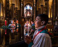 BNPS.co.uk (01202 558833)<br /> Pic: PhilYeomans/BNPS<br /> <br /> Salisbury Cathedral Choir prepares for its annual 'Carol's by Candlelight' services this Sunday and Monday.<br /> <br /> 28 choristers (aged between 8 and 13) and 6 lay vicars sing almost 50 sevices over the advent and Christmas period.<br /> <br /> Salisbury was the first English Cathedral to form a girl choir in 1991...the 900th anniversary of the boys choir at the historic church.