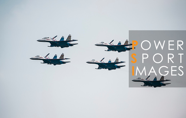 Sukhoi Su-27 of 'Russian Knights' perform in a formation flying at the China International Aviation & Aerospace Exhibition (Airshow China 2016) at China International Aviation Exhibition Center on 02 November 2016, in Zhuhai, China. Photo by Marcio Machado / Power Sport Images