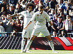 Real Madrid's Marcelo Vieira (l) and Cristiano Ronaldo celebrate goal during La Liga match. January 7,2016. (ALTERPHOTOS/Acero)