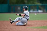 Dartmouth Big Green catcher Logan Adams (10) slides into second base during a game against the USF Bulls on March 17, 2019 at USF Baseball Stadium in Tampa, Florida.  USF defeated Dartmouth 4-1.  (Mike Janes/Four Seam Images)
