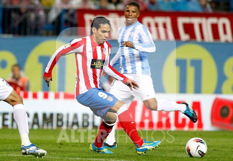 Madrid (05/05/2012).- Estadio Vicente Calderon..Liga BBVA.Atletico de madrid - Malaga Club de Futbol..Falcao...Photo: Alex Cid-Fuentes / ALFAQUI..