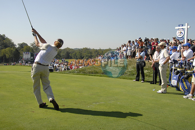 European Team member Miguel Angel Jimenez drives off on the 13 teel during Practice Day1 of the 37th Ryder Cup at Valhalla Golf Club, Louisville, Kentucky, USA, 17th September 2008 (Photo by Eoin Clarke/GOLFFILE)