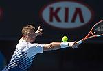 Stanislas Wawrinka (SUI) defeats Jarko Nieminen (FIN) 6-4, 6-2, 6-4 at the Australian Open being played at Melbourne Park in Melbourne, Australia on January 24, 2015