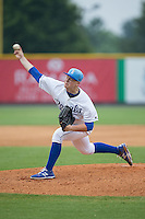 Burlington Royals starting pitcher Nolan Watson (23) delivers a pitch to the plate against the Bluefield Blue Jays at Burlington Athletic Park on July 1, 2015 in Burlington, North Carolina.  The Royals defeated the Blue Jays 5-4. (Brian Westerholt/Four Seam Images)