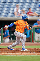 St. Lucie Mets designated hitter Blake Tiberi (3) follows through on a swing during a game against the Clearwater Threshers on August 11, 2018 at Spectrum Field in Clearwater, Florida.  St. Lucie defeated Clearwater 11-0.  (Mike Janes/Four Seam Images)