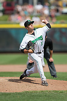 Dayton Dragons relief pitcher Andy Cox (11) in action against the West Michigan Whitecaps at Fifth Third Field on May 29, 2017 in Dayton, Ohio.  The Dragons defeated the Whitecaps 4-2.  (Brian Westerholt/Four Seam Images)