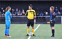 referee Yuri Depuydt pictured with Union's Maelis Henneuse and Brugge's Ellen Martens during a female soccer game between the women teams of Club Brugge YLA Dames and Union Saint-Ghislain Tertre-Hautrage Ladies on the 1/16 th qualifying round for the Belgian Womens Cup 2020  2021 , on saturday 26 th of September 2020  in Brugge , Belgium . PHOTO SPORTPIX.BE | SPP | DAVID CATRY