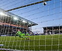 Falkirk's Rory Loy hits the bar with his second penalty.
