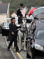 """COPY BY TOM BEDFORD<br /> Pictured: Paul Black pets the horses of the carriage outside the family home in Merthyr Tydfil, Wales, UK. Friday 18 August 2017<br /> Re: The funeral of a toddler who died after a parked Range Rover's brakes failed and it hit a garden wall which fell on top of her will be held today at Jerusalem Baptist Chapel in Merthyr Tydfil.<br /> One year old Pearl Melody Black and her eight-month-old brother were taken to hospital after the incident in south Wales.<br /> Pearl's family, father Paul who is The Voice contestant and mum Gemma have said she was """"as bright as the stars""""."""