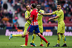Juan Torres Ruiz, Cala (L), of Getafe CF confronts with Diego Roberto Godin Leal (2nd L) of Atletico de Madrid during the La Liga 2017-18 match between Atletico de Madrid and Getafe CF at Wanda Metropolitano on January 06 2018 in Madrid, Spain. Photo by Diego Gonzalez / Power Sport Images