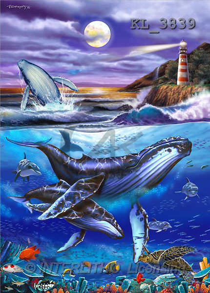 Interlitho, Lorenzo, FANTASY, paintings, whales, lighthouse, KL, KL3839,#fantasy# illustrations, pinturas