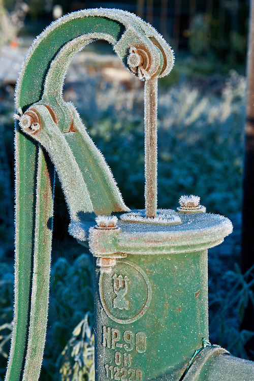 Hand-operated water pump on an allotment early in the morning after an overnight frost, late October.