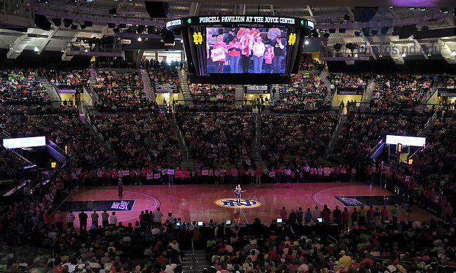 Feb. 12, 2011; Cancer survivors and their friends and families line the court at Purcell Pavilion for a recognition ceremony during halftime of the 2011 Pink Zone women's basketball game...Photo by Matt Cashore/University of Notre Dame