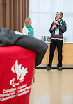 Sochi, RUSSIA - Mar 9 2014 -  Canadian Paralympic Committee President Gaetan Tardiff speaks at the Petro-Canada Sochi 2014 Family & Friends reception at Canada Paralympic House at the 2014 Paralympic Winter Games in Sochi, Russia.  (Photo: Matthew Murnaghan/Canadian Paralympic Committee)