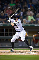 Brandon Guyer (11) of the Charlotte Knights at bat against the Toledo Mud Hens at BB&T BallPark on April 23, 2019 in Charlotte, North Carolina. The Knights defeated the Mud Hens 11-9 in 10 innings. (Brian Westerholt/Four Seam Images)