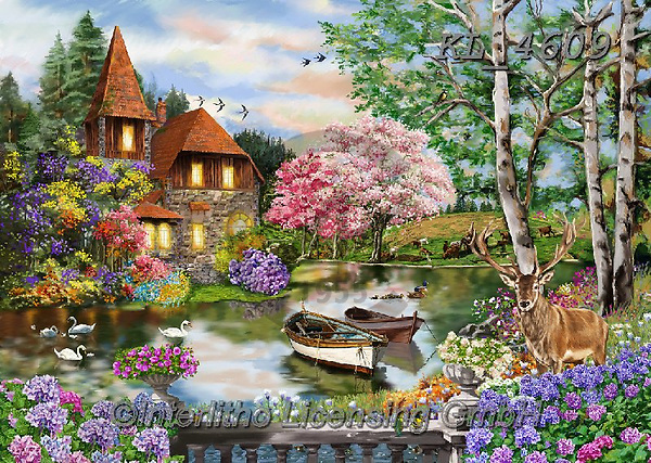 Interlitho-Franco, LANDSCAPES, LANDSCHAFTEN, PAISAJES, paintings+++++,landscape,KL4609,#l#, EVERYDAY ,puzzle,puzzles,lake,boat,boats ,countryside,romantic,county house