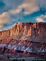 Rock formations at sunset. The Hartnet South Desert Waterpocket Fold, Capitol Reef National Park, Utah