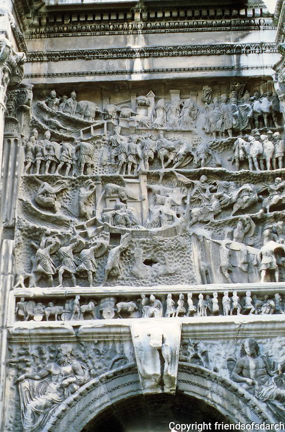 Italy: Rome--Arch of Septimus Severus, detail. Roman Forum. 203 A.D.