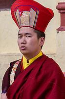 Nepal, Kathmandu, Swayambhunath.  Young Buddhist Monk in a Religious Ceremony.