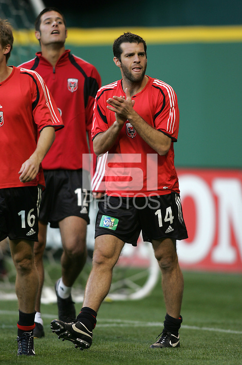 9 April 2005. DC United's Ben Olsen (14) warms up for a game with the Chicago Fire  at RFK Stadium in Washington, DC.
