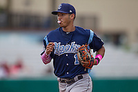 Corpus Christi Hooks shortstop Carlos Correa (1) runs off the field during the Texas League baseball game against the San Antonio Missions on May 10, 2015 at Nelson Wolff Stadium in San Antonio, Texas. The Missions defeated the Hooks 6-5. (Andrew Woolley/Four Seam Images)