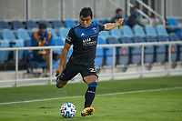 SAN JOSE, CA - OCTOBER 07: Nick Lima #24 of the San Jose Earthquakes takes a shot during a game between Vancouver Whitecaps and San Jose Earthquakes at Eathquakes Stadium on October 07, 2020 in San Jose, California.