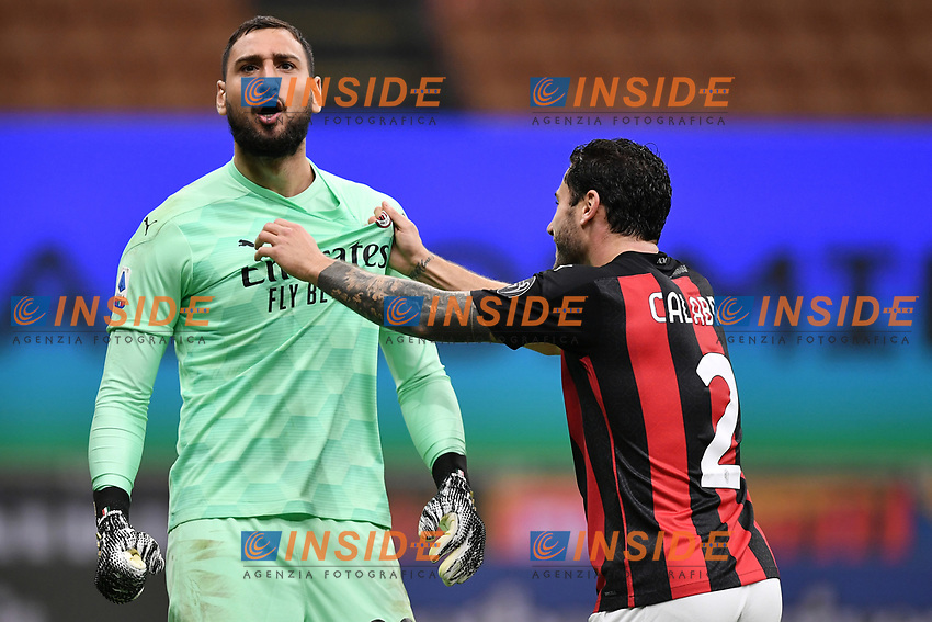 Gianluigi Donnarumma and Davide Calabria of AC Milan celebrate at the end of the Serie A football match between FC Internazionale and AC Milan at stadio San Siro in Milano (Italy), October 17th, 2020. Photo Image Sport / Insidefoto