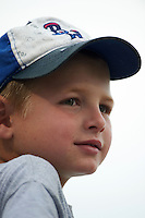 Pensacola Blue Wahoos young fan looks on during the second game of a double header against the Biloxi Shuckers on April 26, 2015 at Pensacola Bayfront Stadium in Pensacola, Florida.  Pensacola defeated Biloxi 2-1.  (Mike Janes/Four Seam Images)
