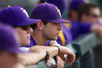 LSU Tigers player Tyler Moore in the dugout during the game against the Texas A&M Aggies in the NCAA Southeastern Conference on May 10, 2013 at Blue Bell Park in College Station, Texas. LSU defeated Texas A&M 7-4. (Andrew Woolley/Four Seam Images).