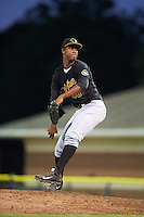 West Virginia Black Bears relief pitcher Yunior Montero (48) during a game against the Batavia Muckdogs on June 29, 2016 at Dwyer Stadium in Batavia, New York.  West Virginia defeated Batavia 9-4.  (Mike Janes/Four Seam Images)