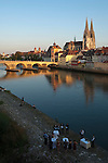 Germany, Bavaria, Upper Palatinate, Regensburg at river Danube: Old Town with Stone Bridge, City Gate, Cathedral St. Peter