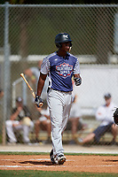 Emanuel Dean during the WWBA World Championship at the Roger Dean Complex on October 19, 2018 in Jupiter, Florida.  Emanuel Dean is an outfielder from Anaheim Hills, California who attends Servite High School and is committed to UCLA.  (Mike Janes/Four Seam Images)